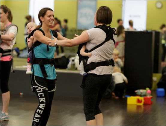 Claire in action with her gorgeous daughter in a rear carrier